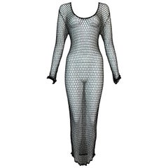 Unworn 1990's D&G Dolce & Gabbana 20's Style Sheer Beaded Fishnet Maxi Dress