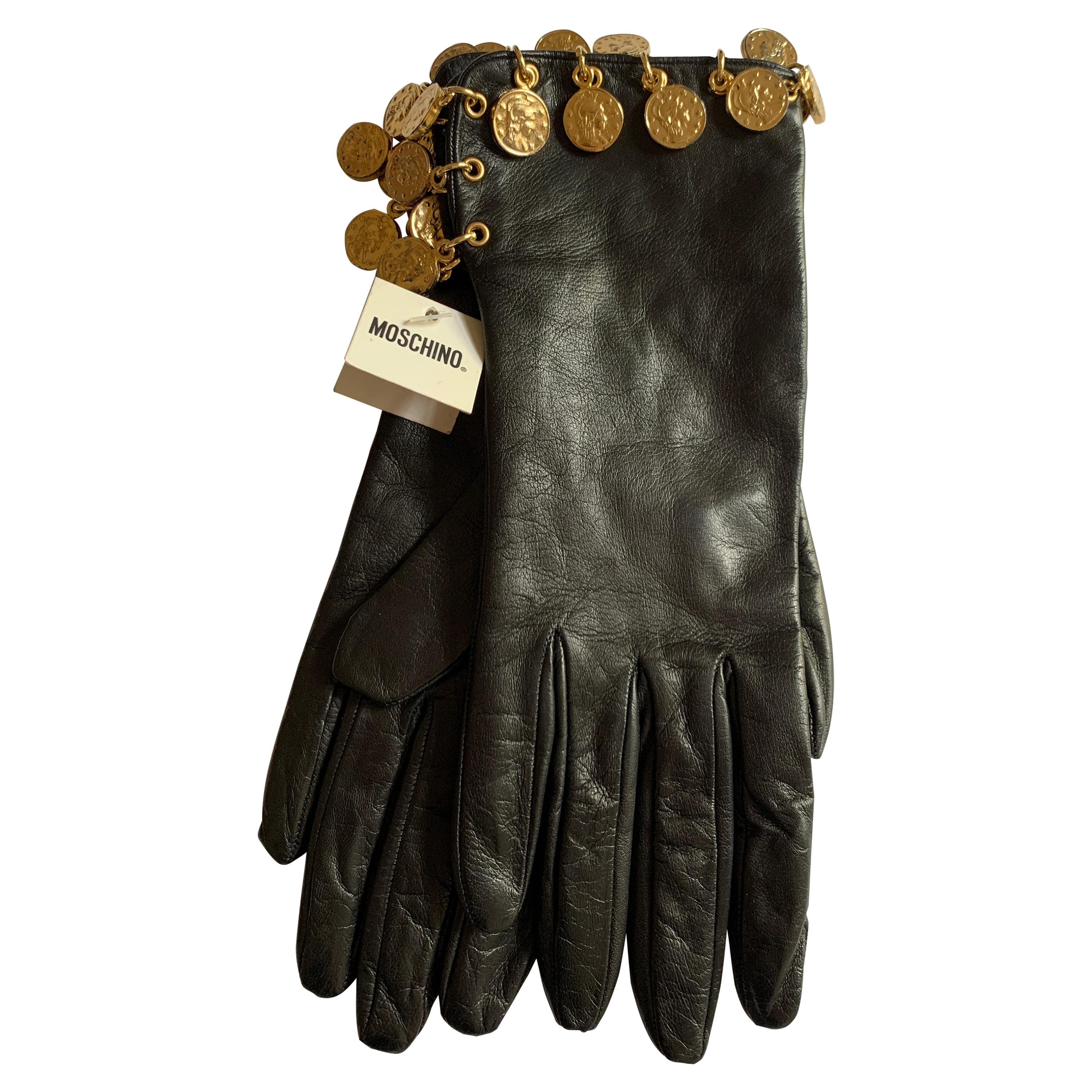 Unworn 1990s Moschino Black Leather Gold Roman Coin Charm Gloves