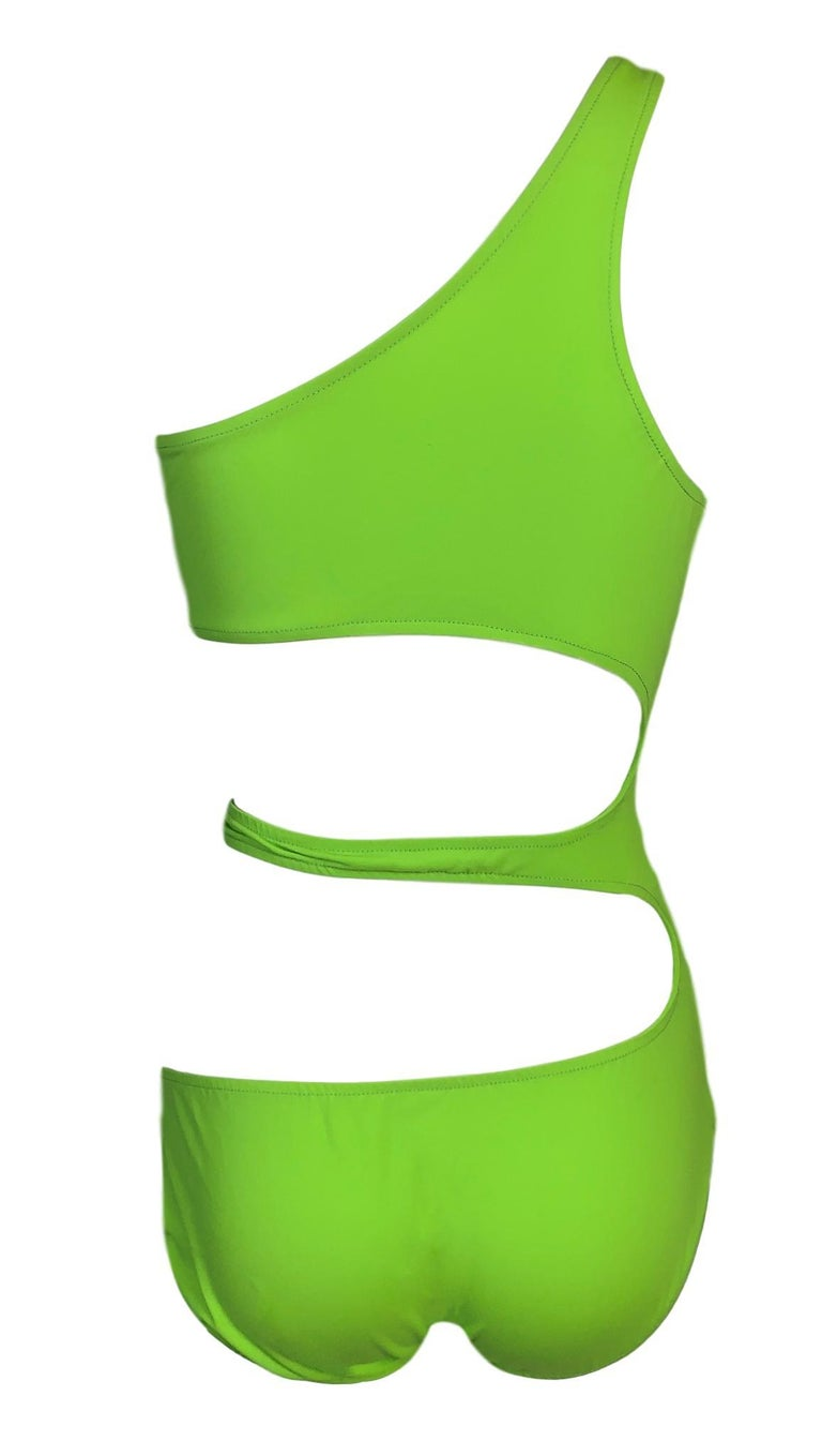 Unworn 1990's Norma Kamali Neon Green Cut-Out Monokini Swimsuit Swimwear In Excellent Condition For Sale In Yukon, OK