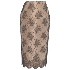 Unworn 2005 Alexander Mcqueen Nude Pencil Skirt with Black Floral Lace Overlay
