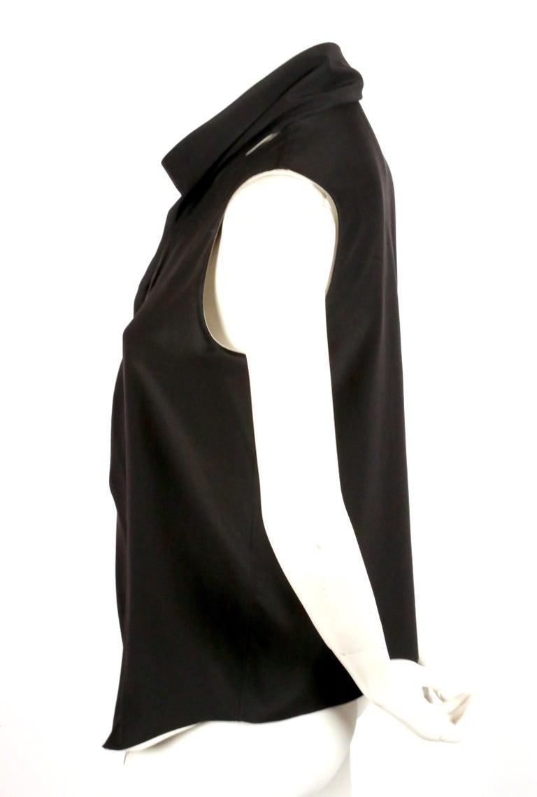 Black unworn 2010 CELINE by Phoebe Philo black & cream silk top with draped neckline For Sale