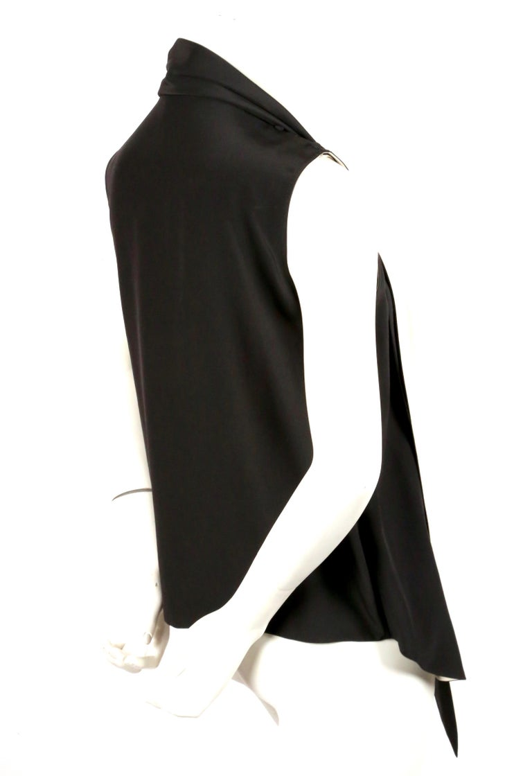 unworn 2010 CELINE by Phoebe Philo black & cream silk top with draped neckline In New Condition For Sale In San Fransisco, CA