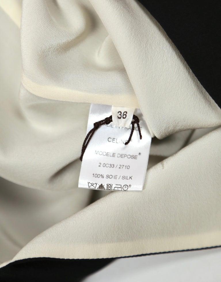 unworn 2010 CELINE by Phoebe Philo black & cream silk top with draped neckline For Sale 2