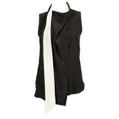 unworn 2010 CELINE by Phoebe Philo black & cream silk top with draped neckline