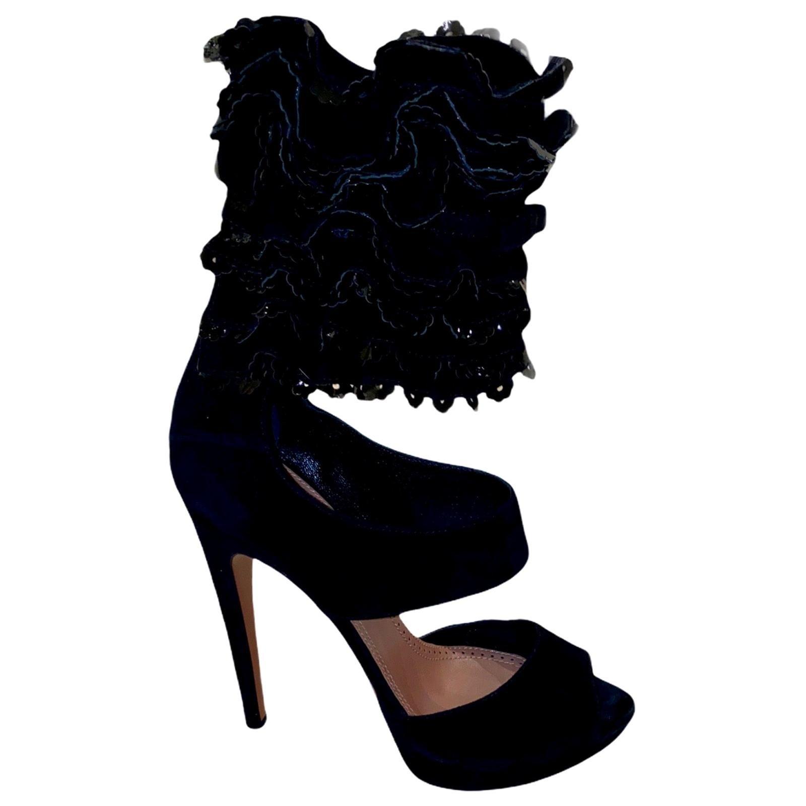 UNWORN Alaia Black Suede Ruffle Platform Ankle Sandals High Heels