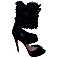 UNWORN Alaia Black Suede Ruffle Platform Ankle Sandals High Heels