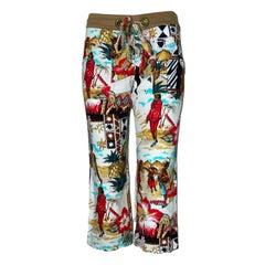 UNWORN Blumarine Africa Print Cropped Capri Pants Trousers
