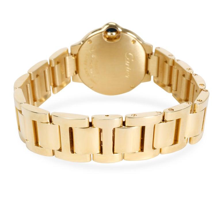 Round Cut Unworn Cartier Ballon Bleu WE9001Z3 Women's Watch in 18 Karat Yellow Gold For Sale