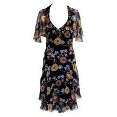 UNWORN Chanel Chinoiserie Silk Chiffon CC Logo Print Dress
