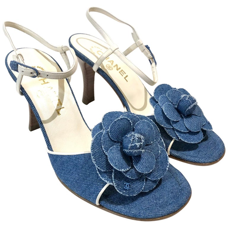Unworn Chanel Denim Camellia Strap Sandals Heels  For Sale