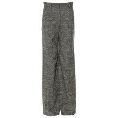 UNWORN Chanel Grey Melange Pattern High Rise Tweed Wide Leg Pants Trousers
