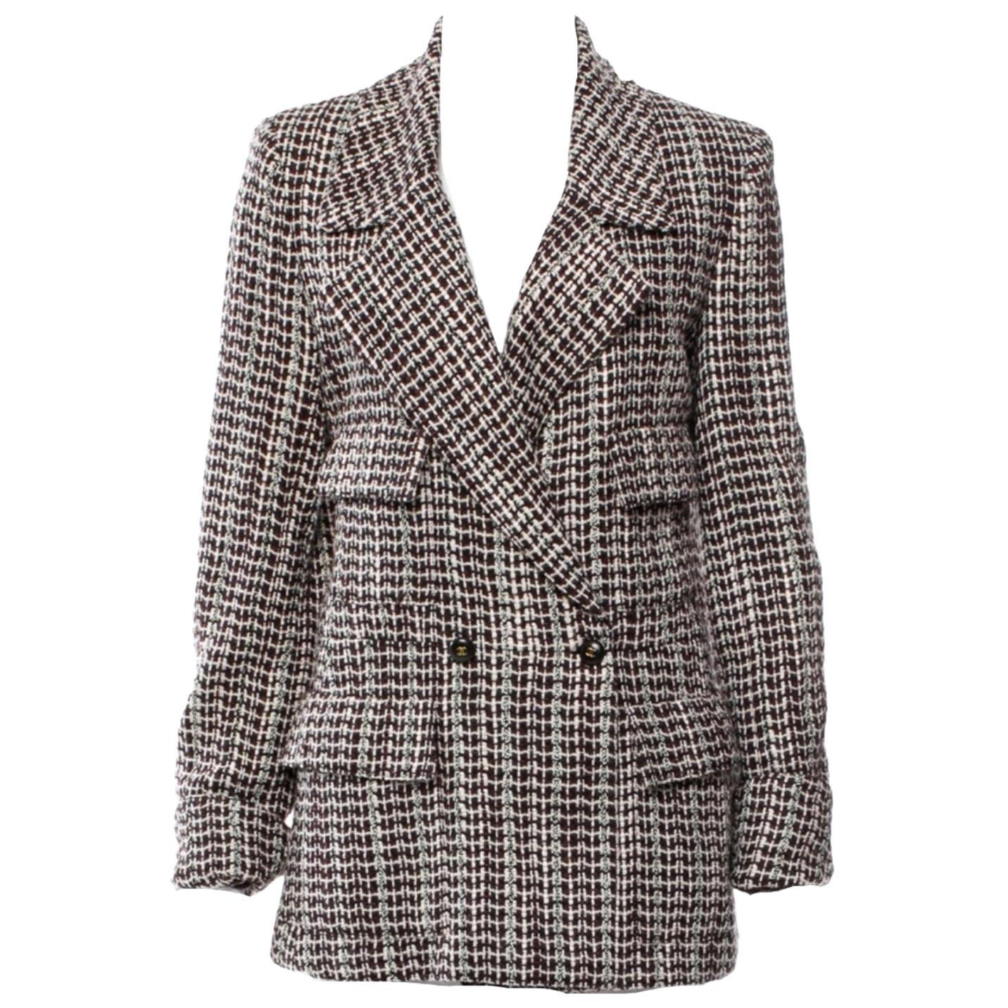 UNWORN Chanel Tweed & Sequins CC Logo Button Short Coat Jacket Blazer