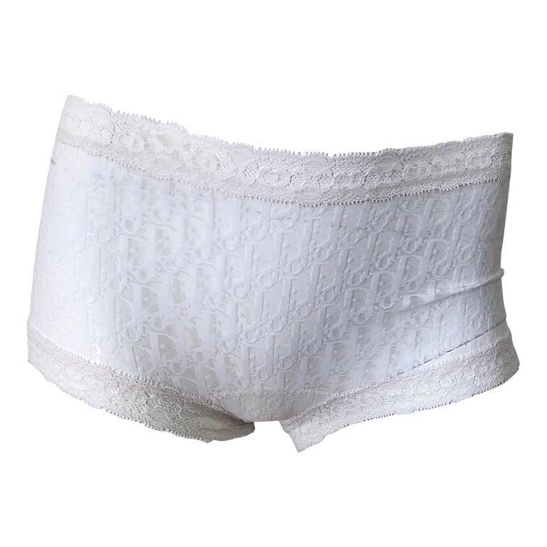 Unworn Christian Dior 1990s Logo White Sheer Low Rise Vintage Hot Pants Shorts For Sale