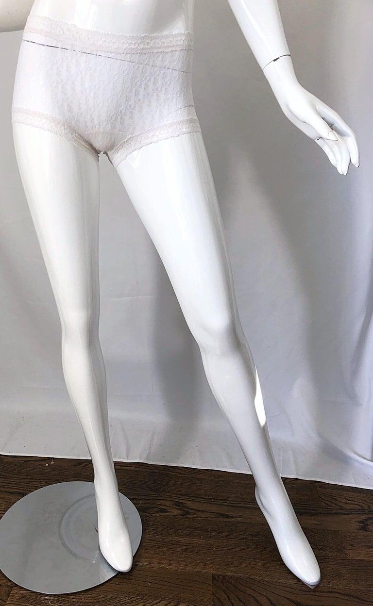 Unworn Christian Dior 1990s Logo White Sheer Low Rise Vintage Hot Pants Shorts For Sale 5