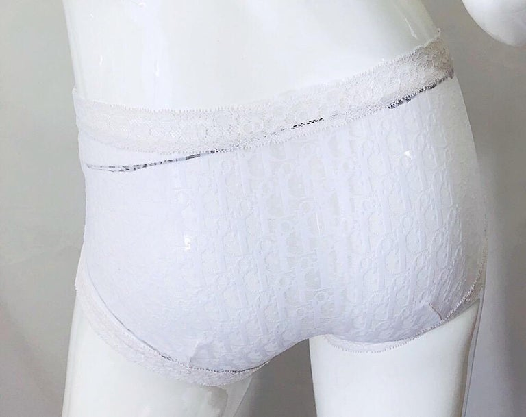 Women's Unworn Christian Dior 1990s Logo White Sheer Low Rise Vintage Hot Pants Shorts For Sale
