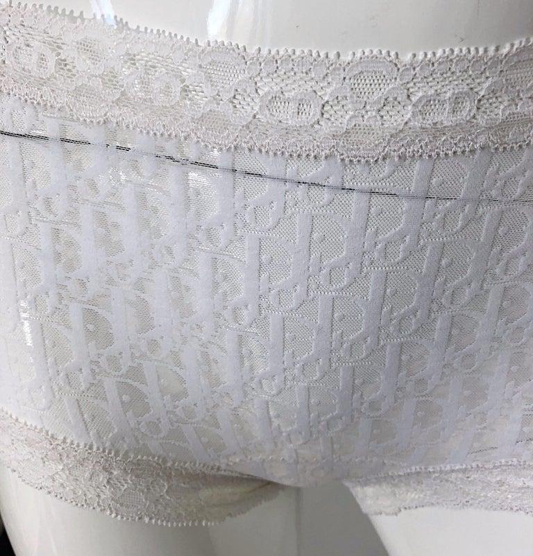 Unworn Christian Dior 1990s Logo White Sheer Low Rise Vintage Hot Pants Shorts For Sale 3