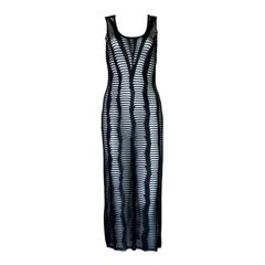 UNWORN Christian Dior by John Galliano Black Mesh Knit Midi Dress Summer 2001