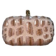 UNWORN Emilio Pucci Nude Blush Embellished Sequin Eagle Head Clutch Bag