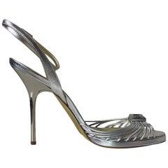 UNWORN Escada Silver Metallic Leather Strappy Stiletto High Heels Sandals