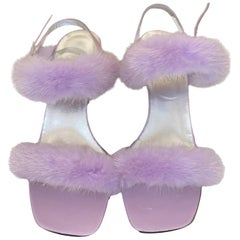 UNWORN Exotic Escada Lavender Fur Strappy High Heels Sandals