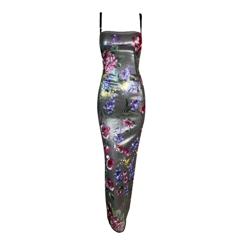 Unworn F/W 1998 Dolce & Gabbana Runway Silver Mesh Painted Wiggle Dress For Sale