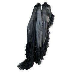 Unworn F/W 1999 Dolce & Gabbana Sheer Black Silk & Lace Long Cape Dress