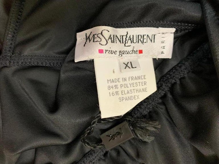 Women's Unworn FW 2000 Yves Saint Laurent Shiny Black Plunging Backless Bow Bodysuit Top For Sale