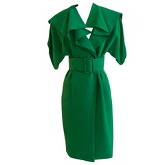 Unworn Galanos 1980s Kelly Green Coat Dress with Draped Shawl Collar