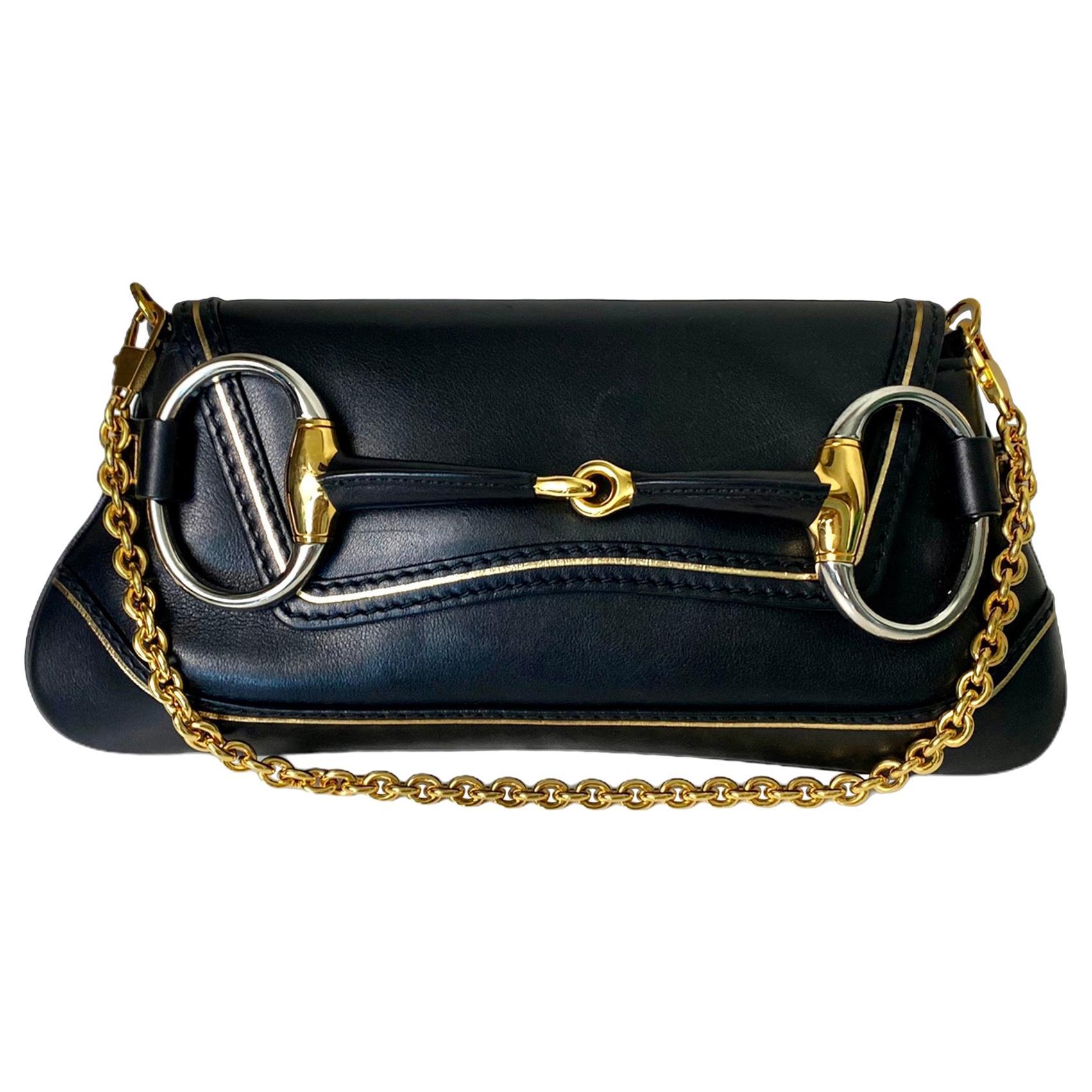 UNWORN Gucci Limited Edition Black Leather Painted Flora Horsebit Bag Clutch