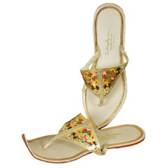 Unworn Hand-Painted Persian Toe Flat Thong Sandals - US 9, 1950s