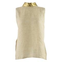 Unworn Isaac Mizrahi Pure Linen & Gold Lamé Vintage Open Back Blouse, 1990s