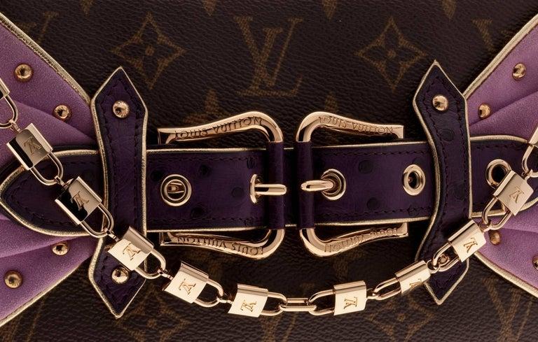 Black UNWORN Louis Vuitton Extraordinaire Monogram Ostrich Pochette Lock Chain  For Sale