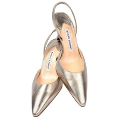 "Unworn Manolo Blahnik Carolyn Slingback Pointed Toe Shoes W 3"" Heels Size 37"