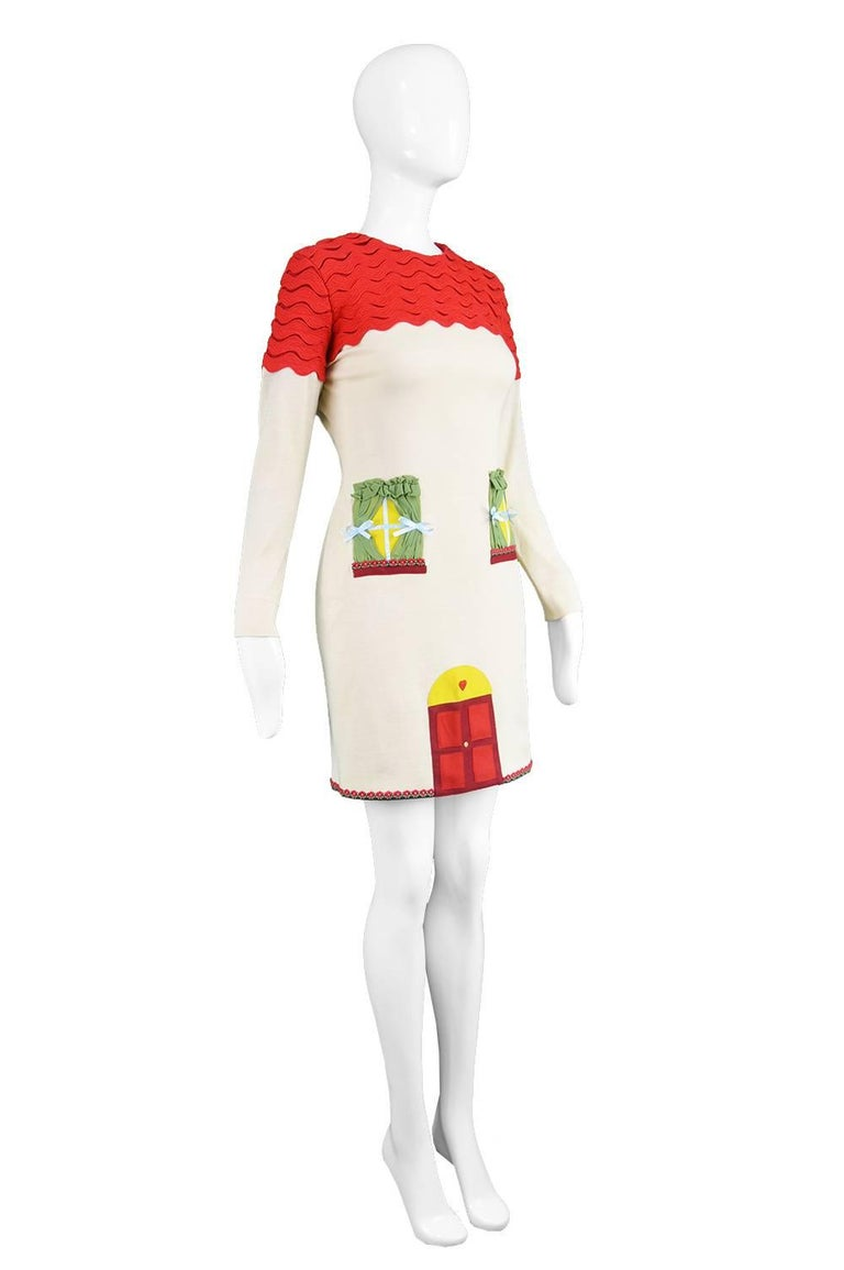 White Moschino Vintage Surrealist House Cream and Red Wool Blend Knit Dress, 1980s  For Sale