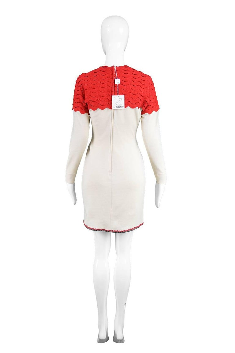 Women's Moschino Vintage Surrealist House Cream and Red Wool Blend Knit Dress, 1980s  For Sale