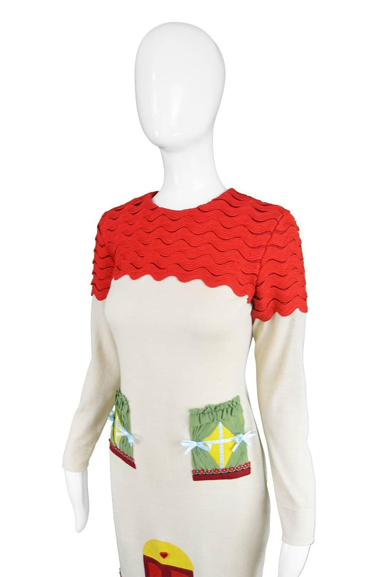 Moschino Vintage Surrealist House Cream and Red Wool Blend Knit Dress, 1980s  For Sale 3