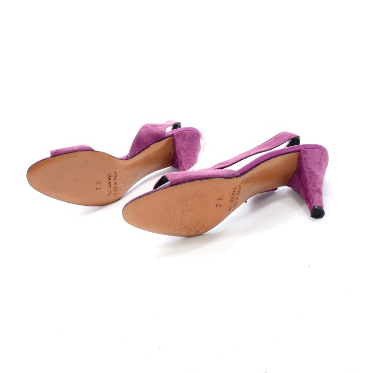 Unworn New Maserati 1980s Vintage Slingback Purple Suede Shoes Size 7N For Sale 2