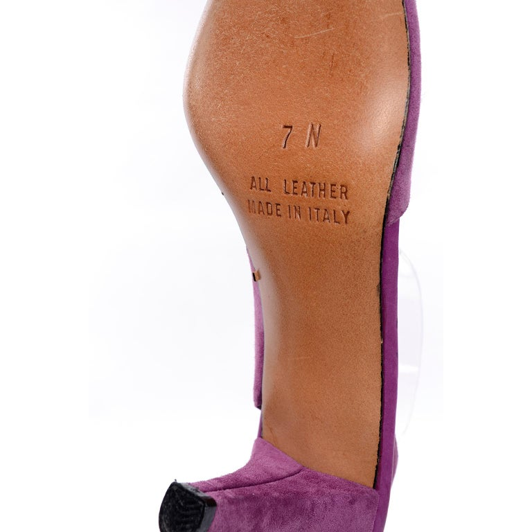 Unworn New Maserati 1980s Vintage Slingback Purple Suede Shoes Size 7N For Sale 3