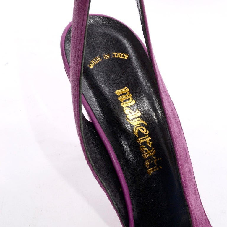 Unworn New Maserati 1980s Vintage Slingback Purple Suede Shoes Size 7N For Sale 4