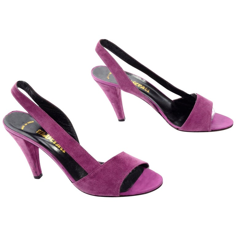 Unworn New Maserati 1980s Vintage Slingback Purple Suede Shoes Size 7N For Sale