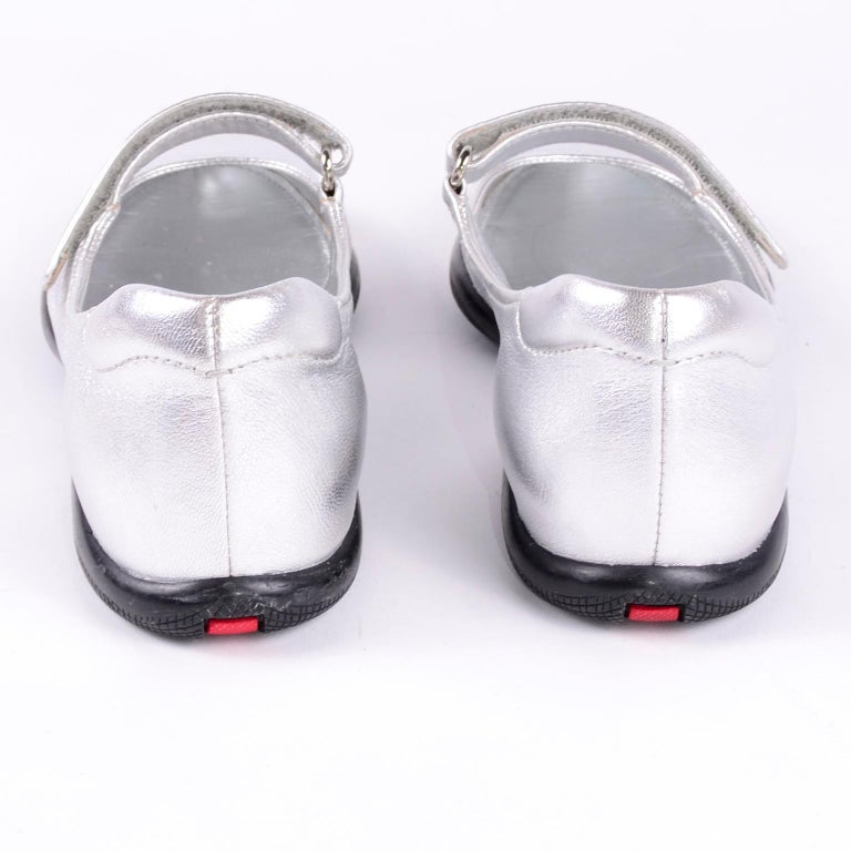 Unworn Prada Sport Silver Metallic Flats Mary Jane Leather Shoes Italian 39.5 For Sale 6