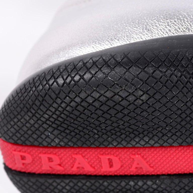 Unworn Prada Sport Silver Metallic Flats Mary Jane Leather Shoes Italian 39.5 For Sale 8