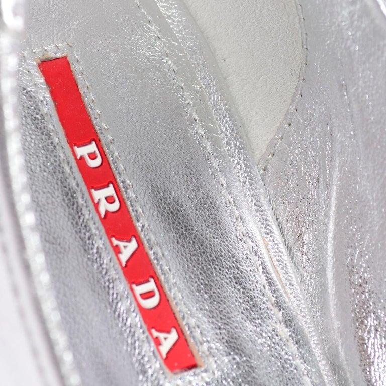 Unworn Prada Sport Silver Metallic Flats Mary Jane Leather Shoes Italian 39.5 For Sale 9