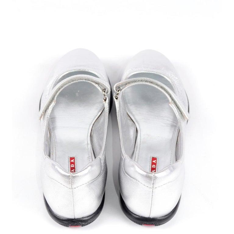 Unworn Prada Sport Silver Metallic Flats Mary Jane Leather Shoes Italian 39.5 For Sale 1
