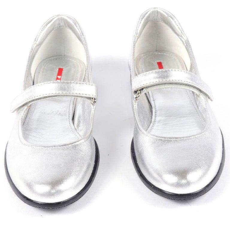 Unworn Prada Sport Silver Metallic Flats Mary Jane Leather Shoes Italian 39.5 For Sale 2