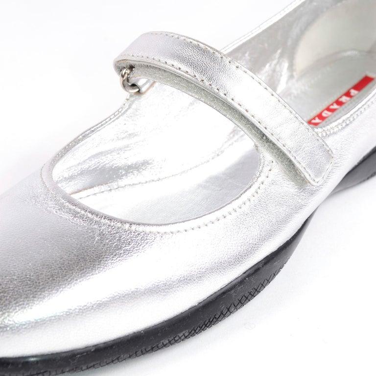 Unworn Prada Sport Silver Metallic Flats Mary Jane Leather Shoes Italian 39.5 For Sale 5