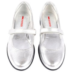 Unworn Prada Sport Silver Metallic Flats Mary Jane Leather Shoes Italian 39.5