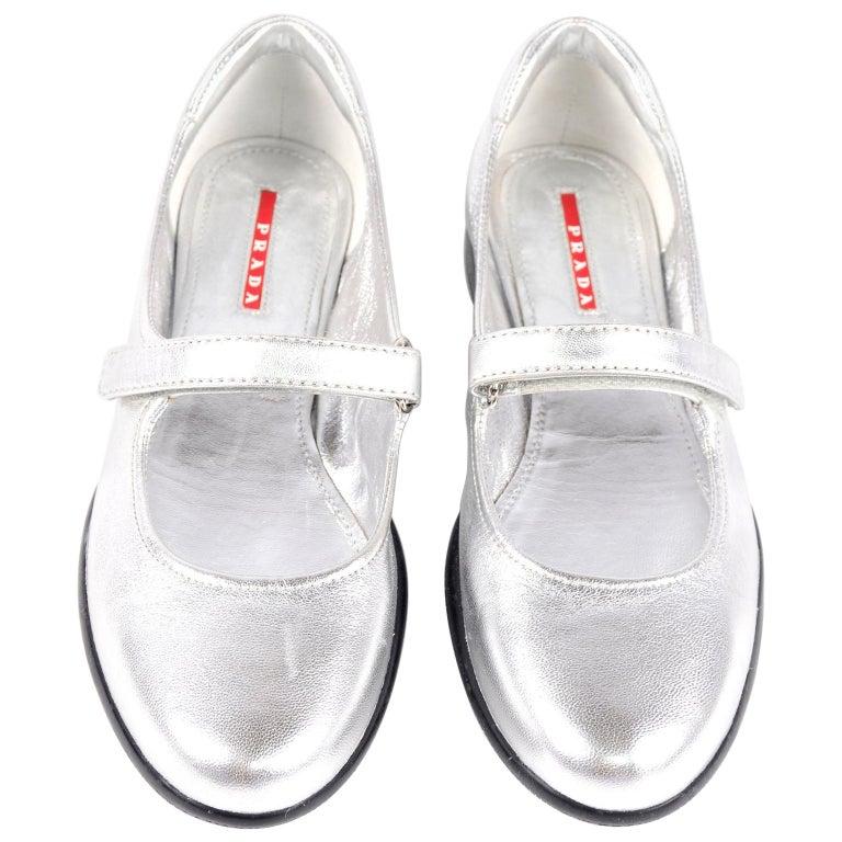 Unworn Prada Sport Silver Metallic Flats Mary Jane Leather Shoes Italian 39.5 For Sale