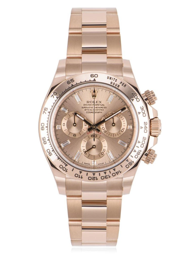 An unworn 40mm rose gold Cosmograph Daytona from Rolex, featuring a sundust dial with a sunray finish and 11 diamond-set hour markers. With its engraved tachymetric scale, three counters and pushers, this is a high-performance sports