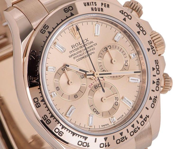 Men's Unworn Rolex Daytona Rose Gold Diamond Dial 116505 Under Warranty For Sale